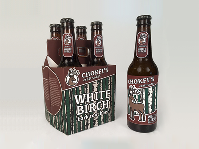 Chokfi's Craft Sodas illustration products photography identity labels birch deer 4-pack root beer beer bottle packaging