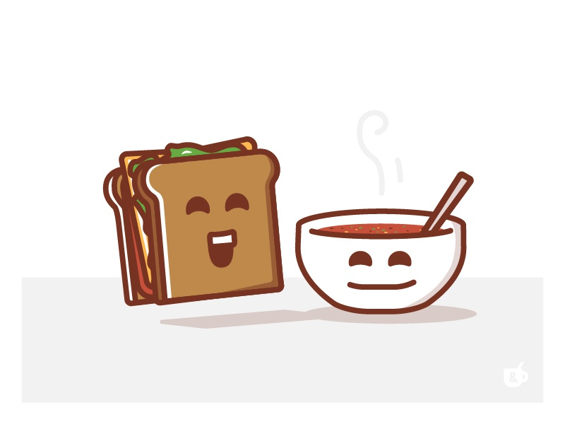 Lunch lunch meal good food company illustration bowl soup sandwich happy nashville characters