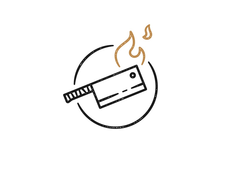 Seeking: team name chef vector simple icon austin fire knife resturant food truck texture branding logo illustration nashville football