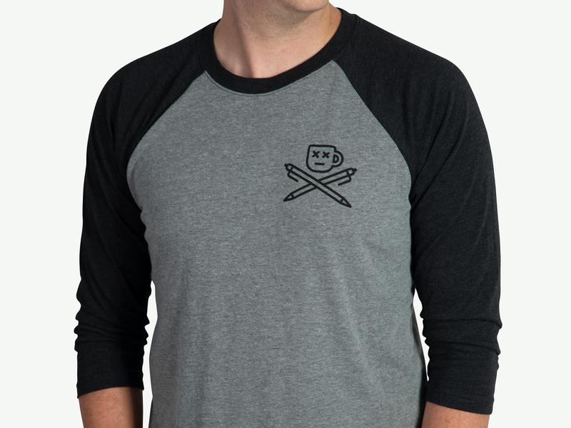 Mug and Crosspens raglan tees baseball tshirt shirt apparel hustle skull pirate brand mug simple branding coffee pen icon austin illustration nashville