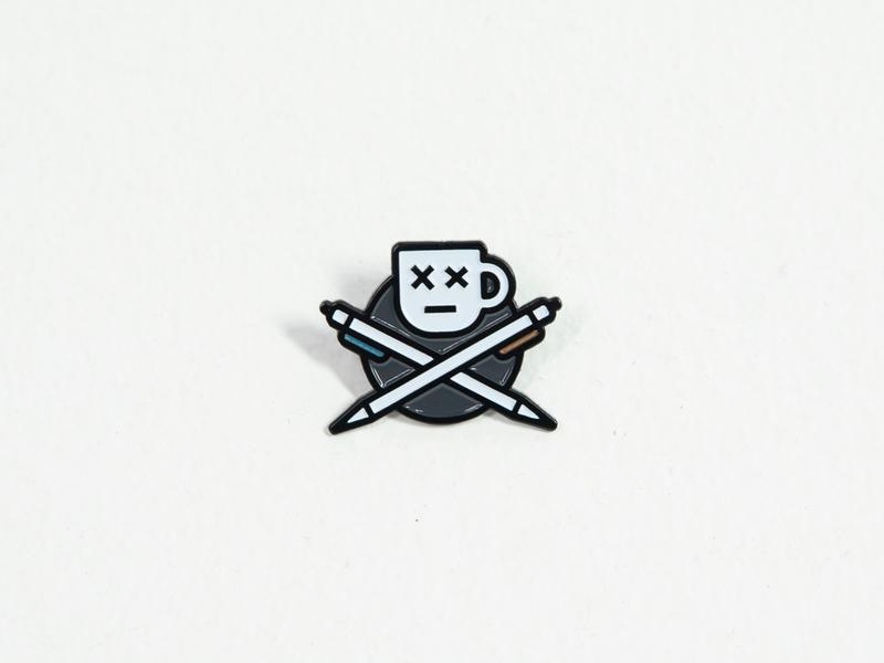 Mug and Crosspens Pin pirate skull hustle entrepreneur provisions lapelpin pin lapel enamelpin enamel brand simple coffee pen austin icon mug illustration logo nashville