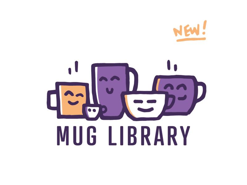 Mug Library minimal signage new hand drawn vector design branding coffee pen nashville illustration library mug