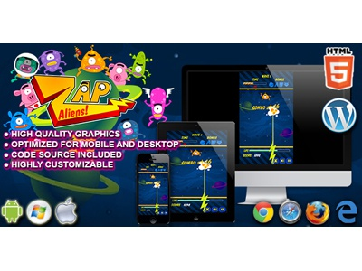 HTML5 Game: Zap Aliens tap game arcade game space aliens games