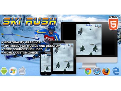 HTML5 Games: Ski Rush winter snow skill game winter game sport game ski