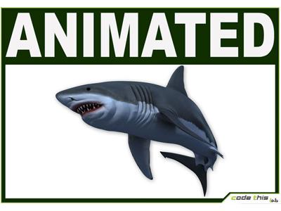 3D Models: White Shark CG fin ocean fish animal 3d model model 3d shark