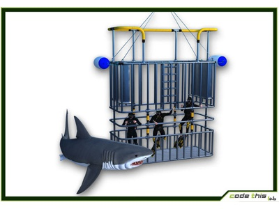 3D Models: Scuba Shark and Cage Dive CG snorkel tube mask cage fin ocean fish animal 3d model model 3d shark