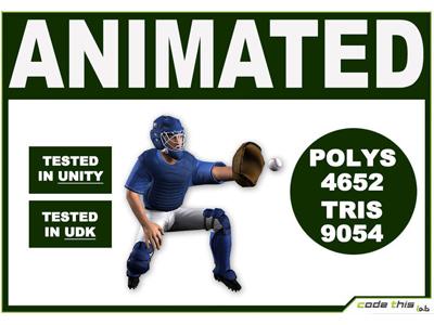 3D Models: White Baseball Catcher 9054 Tris videogame realtime sport 3d model 3d model baseball