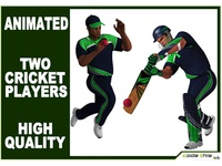 3D Models: Large Cricket Batter And Bowler Cg