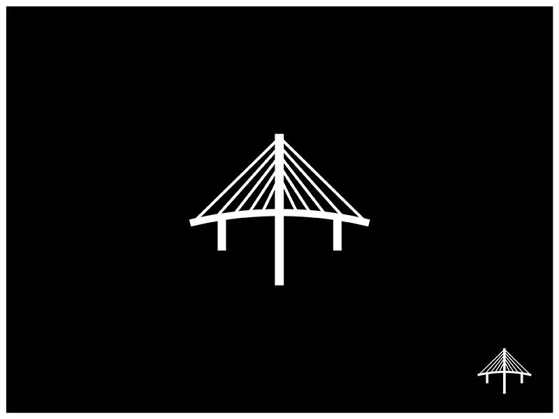 The Bridge 20 Miles North Of The City north rays beams arrow logomark visual design design bridges bridge branding mark logo