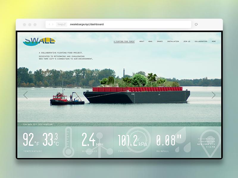 SWALE Dashboard navigation website web ui dashboard water sea barge nyc new york swale