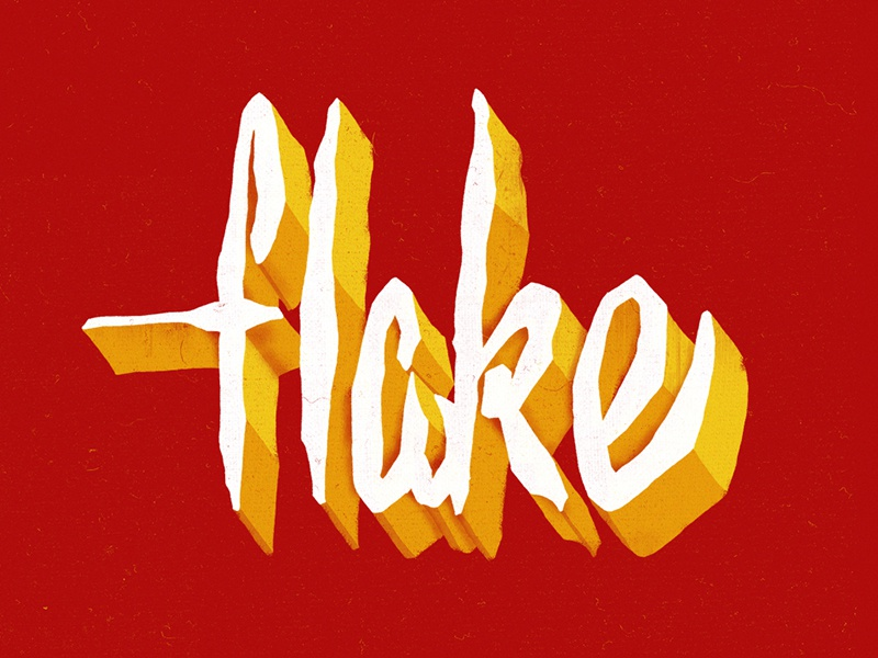 Flake  flake depth 2d texture vector hand lettering typography type illustration lettering