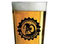 Pint glass for mountain bike race logo