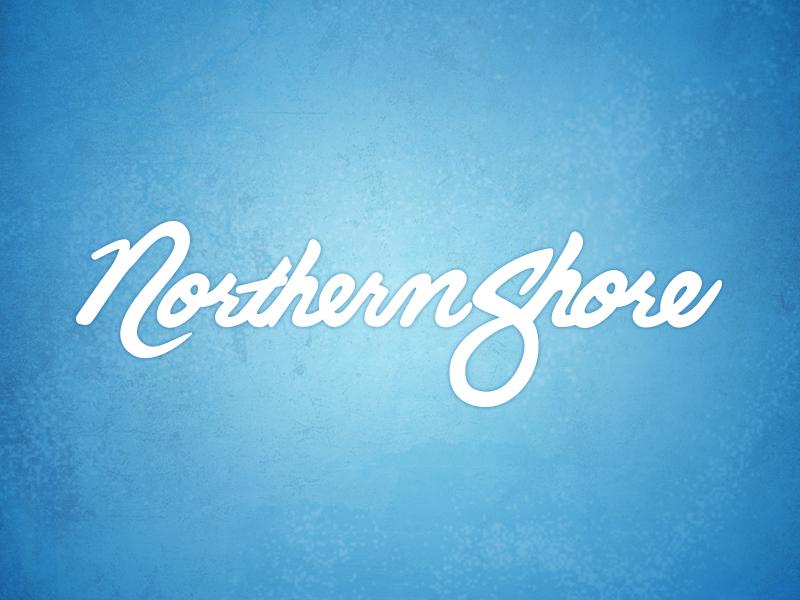 Northern Shore Script blue text logo script cursive font texture northern shore design graphic hand-lettered