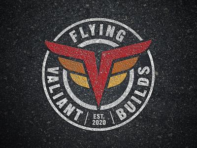 Flying Valiant Builds Logo custom model auto icon diecast badge white orange red grunge automotive show logo youtuber
