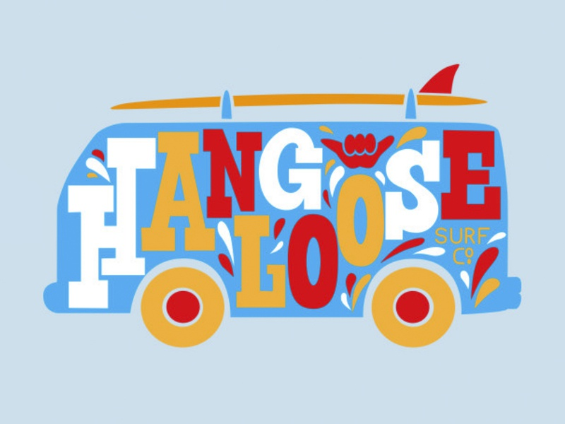 Hangloose Surf Co. 2020 T-Shirt surfing apparel custom handlettering retro vintage blue orange red colorful typography bus van surf