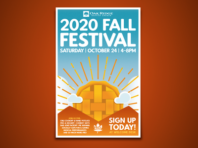 2020 Fall Festival Poster Design pie fun clouds festival logo festival poster church event fall colors sun stylized illustrator illustration blues oranges outdoor autumn festival fall