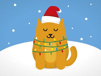 Meowy Christmas Card - 2020 christmas card fun merry pet pun lights art illustration cat animal seasonal holiday card christmas