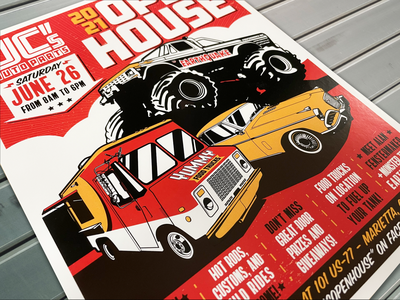 JC Auto Parts Flyer graphic design automobile old-school drawing illustration monster truck food truck vintage retro ad print poster flyer open house event show automotive car