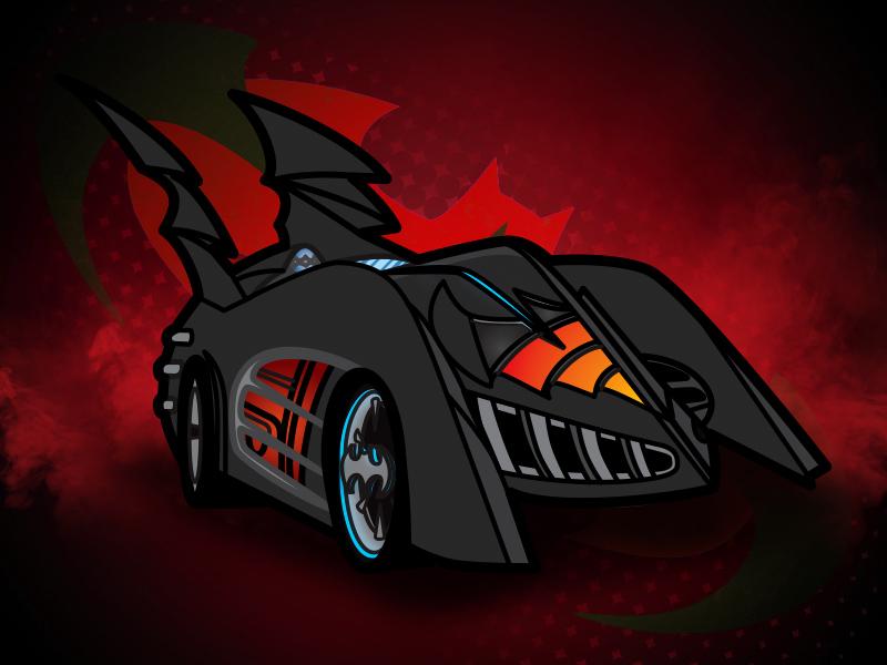 1997 Batmobile -  Batman and Robin automobile fins blue car dark knight superhero robin black red 1990s batman