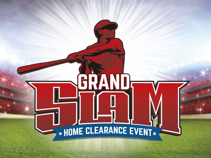 Grand Slam Home Clearance Event starburst graphic logo event blue white red stadium batter grand slam baseball