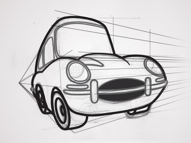 The Love Bug Thorndyke S Cartoon Jaguar Linework By Justin