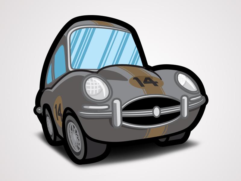 The Love Bug Thorndyke S Cartoon Jaguar Racing By Justin Ellis