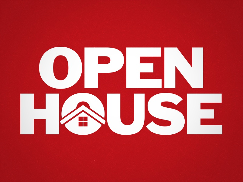 Open House Logo graphic design intergrated open house red white home house logo