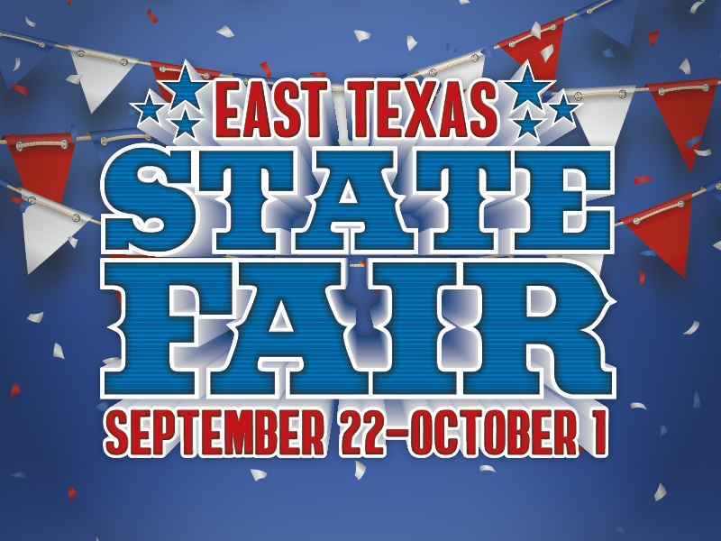 East Texas State Fair - Clayton Homes typography display promo contest event state texas family pennants red blue fair