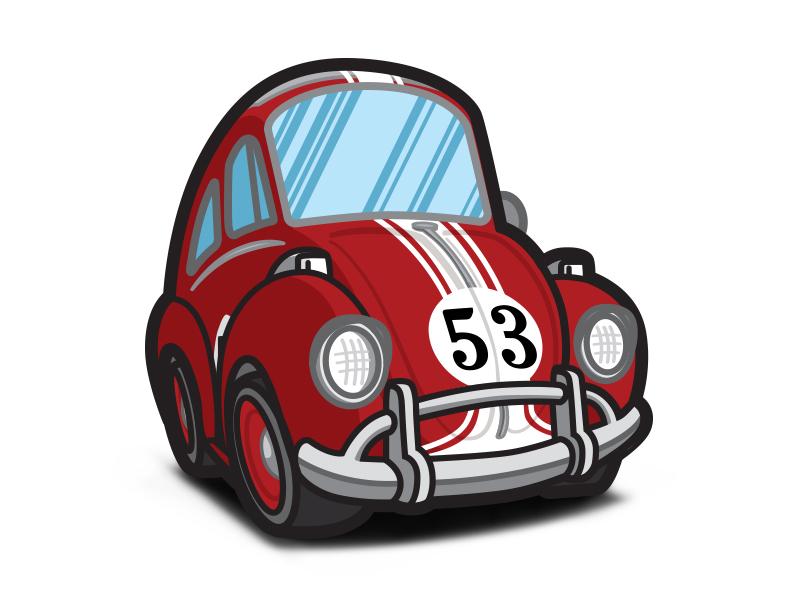 The Love Bug - Cartoony Protoherbie red vw stripes love illustration herbie disney car bug beetle automobile