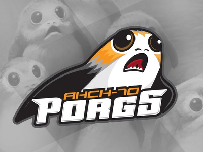 May the Fourth - Ahch-To Porgs last jedi science fiction sci-fi may the fourth illustration icon logo sports logo porg star wars