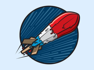 Melting Pop Rocket rocket logo patriotic flight rocketship ship sci-fi popsicles retro culture art pop illustration american america blue white red space rocket popsicle