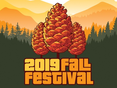 ORBC FallFest Poster yellow event autumn sunset smokey mountains pine pinecone church brown red orange festival poster concert design poster festival fall