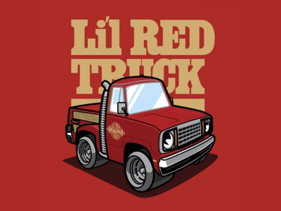 LilRed Truck graphics apparel car-toon illustration stylized metal wood vintage gold red truck automobile cartoon retro 1970s 70s little red express pick-up dodge mopar