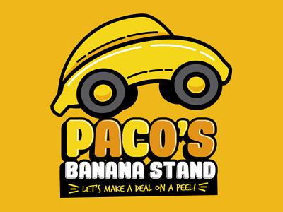 Paco's Banana Stand - Logo white cartoon illustration pun film movie humor apparel design beetle bug retro logo design banana yellow orange 80s automotive herbie car logo