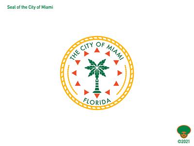 Miami City Seal palm tree vector city branding branding design logo