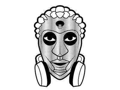 Gunye Ge Mask illustration africa vector logo