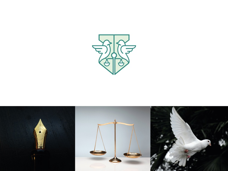 dove + pen nib + scale symbol vector design branding flat icon mark minimal clever logo lawfirm law