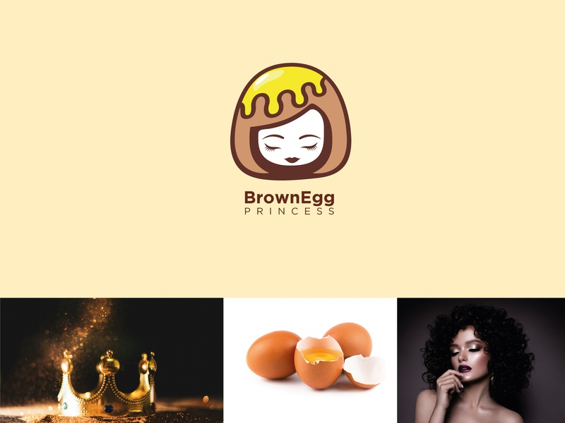 Crown + brown egg + girl design symbol freelance line logo abstract clever icon mark minimal