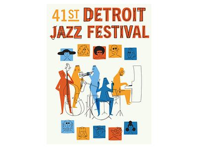 Detroit Jazz Festival Poster midcentury detroit jazz vintage retro illustration