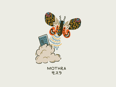 Mothra comic monster mothra godzilla vintage procreate retro illustration