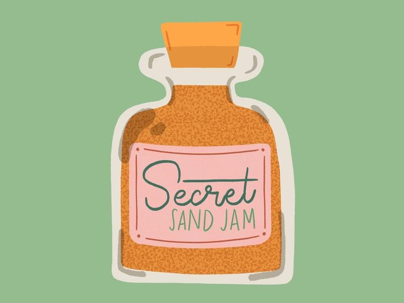 Secret Sand Jam jam jar midcentury vintage procreate retrosupplyco illustration retro