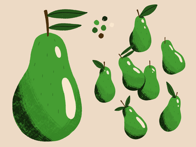 Bunch of Pears pear fruit midcentury vintage procreate retro illustration