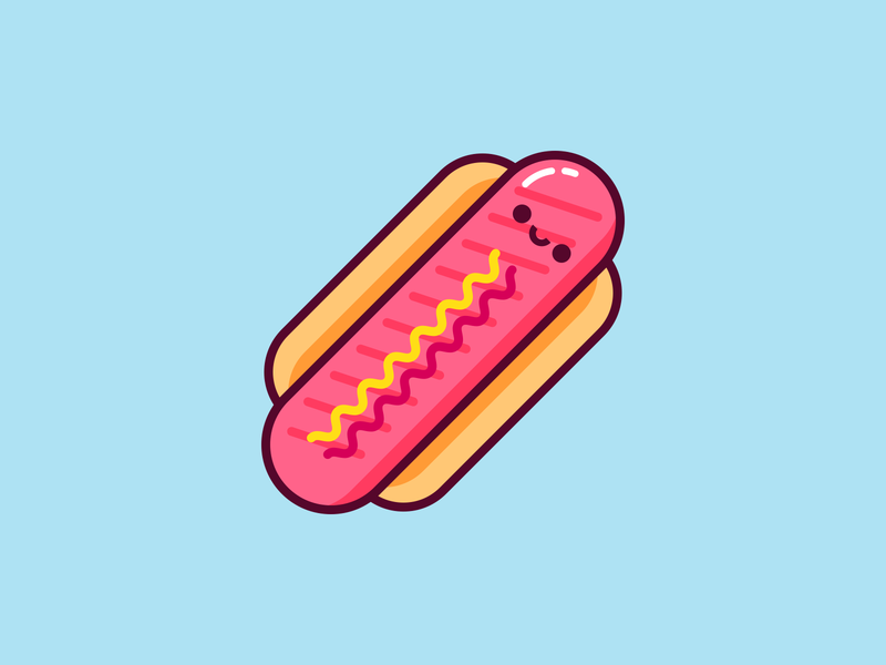 Hot Dog kawaii hotdog ilustración illustration