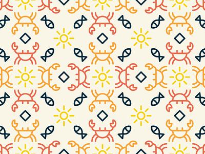 Crab Tile sol sun pez fish mosaico patron pattern tile cangrejo crab