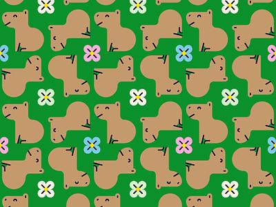 Capybara Tile mosaico flor flower capibara capybara patron tile pattern