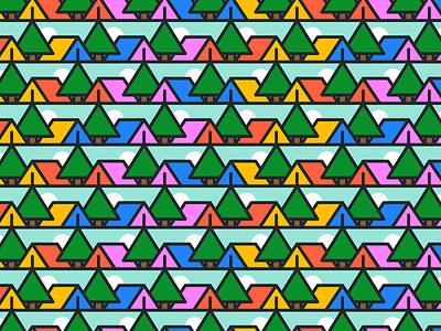 Camping Tile campamento camping mosaico patron tile pattern