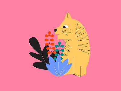 Tiger vector artwork vector design vector art jungle color palette plants tiger illustration design illustrator illustration art illustration