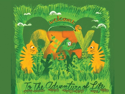 Ozzy kids clouds plants cacti snake monkey bird tiger animals illustration baby shower adventure jungle book jungle