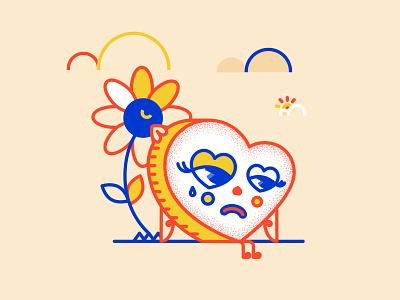 <3 design simple heart primary colors illustration graphic design