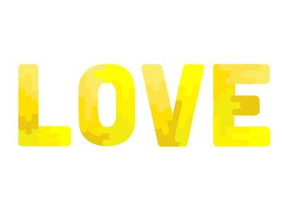 Love love yellow typography illustration